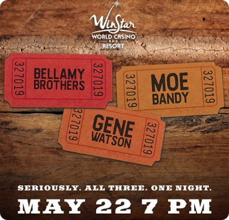 Gene Watson, Bellamy Brothers and Moe Bandy at WinStar Casino, 777 Casino Ave, Thackerville, OK 73459 on Friday 22 May 2020