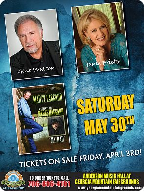 Gene Watson, Janie Fricke and Marty Haggard at Anderson Music Hall, Georgia Mountain Fairgrounds, 1311 Music Hall Road, P.O. Box 444, Hiawassee, GA 30546 on Saturday 30 May 2020 (performance time: 7:00pm)