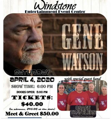 Gene Watson at Windstone Entertainment Center, 2425 Industrial Drive, Jefferson City, MO 65109 on Saturday 4 April 2020