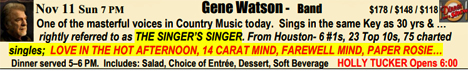 Gene Watson at The Big Barn, Dosey Doe, 25911 I-45 North, The Woodlands, TX 77380 on Sunday 11 November 2018