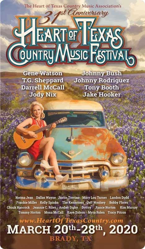 31st Heart of Texas Country Music Festival, Brady Civic Center, Brady, Texas with Gene Watson & The Farewell Party Band, with Bobby Flores & Yellow Rose Band, on Friday 27 March 2020