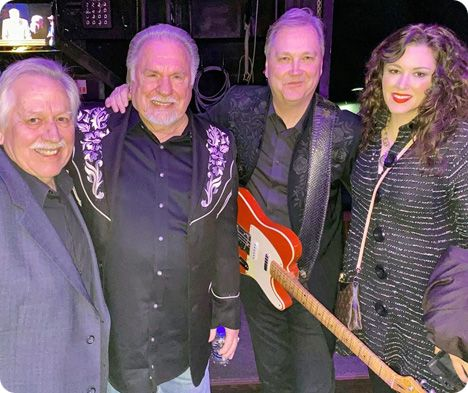 John Conlee, Gene Watson, Steve Wariner and Mandy Barnett at The Grand Ole Opry in Nashville on Friday 7 February 2020, on the occasion of Gene Watson becoming a member of The Grand Ole Opry