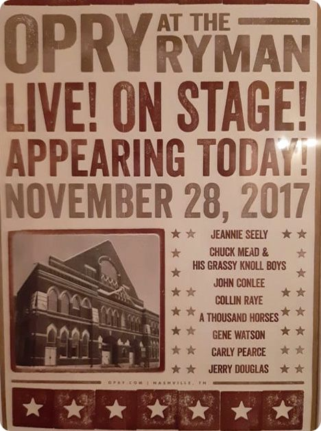 Ryman Auditorium, 116 5th Avenue North, Nashville, TN 37219 (promotional poster for Tuesday 28 November 2017)