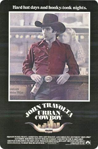 'Urban Cowboy' is an American romantic drama film (released by Paramount Pictures in 1980) about the love-hate relationship between Buford Uan 'Bud' Davis (John Travolta) and Sissy (Debra Winger), which captured the late 1970s / early 1980s popularity of country music / The film was John Travolta's third major acting role after 'Saturday Night Fever' and 'Grease' / Much of the action centred around activities at Gilley's Club, a honky tonk in Pasadena, Texas